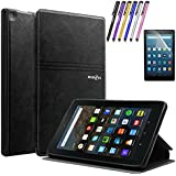Mignova Folio Case for Amazon Fire HD 8 Tablet (2017 Release 7th Gen) - Smart Cover Slim Folding Stand Case with Auto Wake / Sleep + Screen Protector Film and Stylus Pen (Black)
