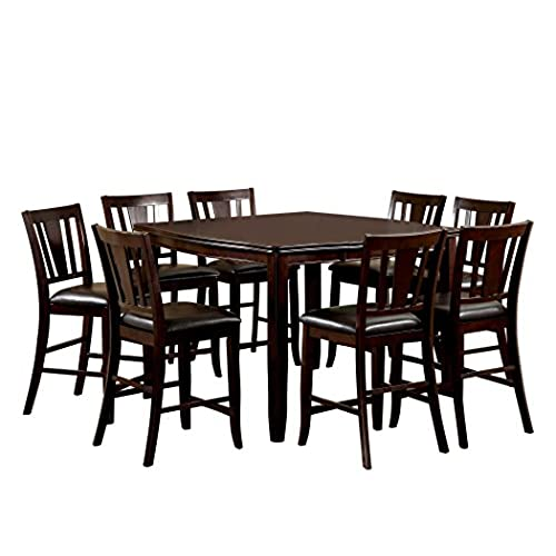 Furniture of America Frederick 9-Piece Square Counter Height Table Set with 16-Inch Expandable Leaf Espresso Finish  sc 1 st  Amazon.com : square dining table sets 8 - Pezcame.Com