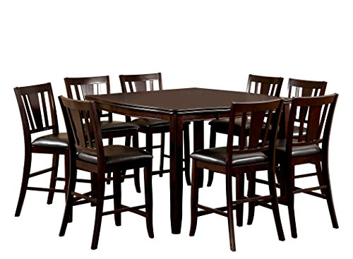 Furniture of America Frederick 9-Piece Square Counter Height Table Set with 16-Inch Expandable Leaf, Espresso Finish (Set Nine Piece Dining Room)