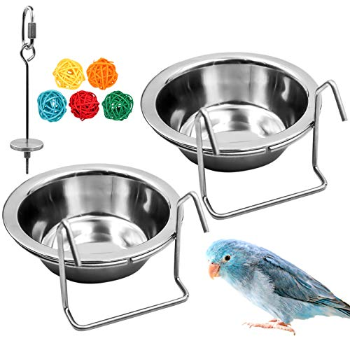 suruikei 2 Pack Bird Feeder Birds Bowls Stainless Steel Dishes Coop Cups with Wire Hook, Parrot Feeding Dish Cups Food Water Bowls with Bird Food Holder and Rattan Ball for Finches Lovebirds (Set 1)