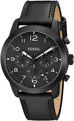 Men's  Pilot 54 Chronograph Black Leather Watch - Fossil FS5157