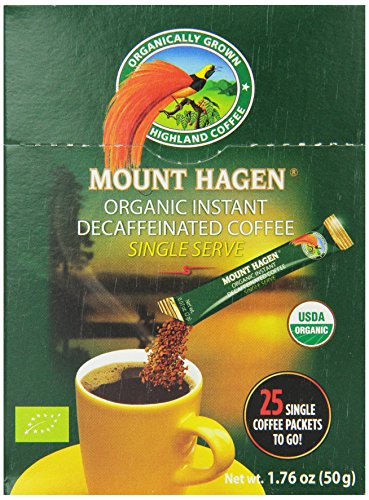 Mount Hagen Organic Instant Decaffeinated Coffee, 25-Count Single Serve Sticks, 1.76 Oz (Organic Single)