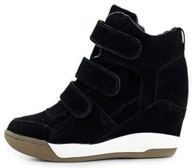 7ea4931785bd66 ACE SHOCK Women s Casual High Top Hidden Heel Wedges Fashion Sneakers (5.5