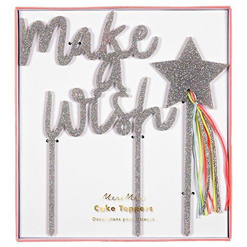 Meri Meri, Make a Wish Acrylic Cake Topper, Cake Decorations, Party Supplies