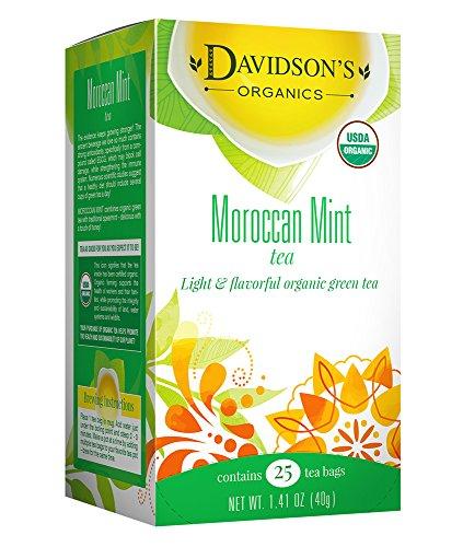 Davidson's Tea Moroccan Mint Green, 25 Count Tea Bag Organic Clear Honey