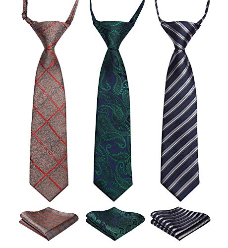 Enlision 3pcs Boys Pre-Tied Neckties & Pocket Square Set Neck Strap Tie for Kids Brown/Green/Navy Blue ()