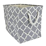 "DII Collapsible Polyester Storage Basket or Bin with Durable Cotton Handles, Home Organizer Solution for Office, Bedroom, Closet, Toys, Laundry (Large – 18x12x15""), Gray Lattice"