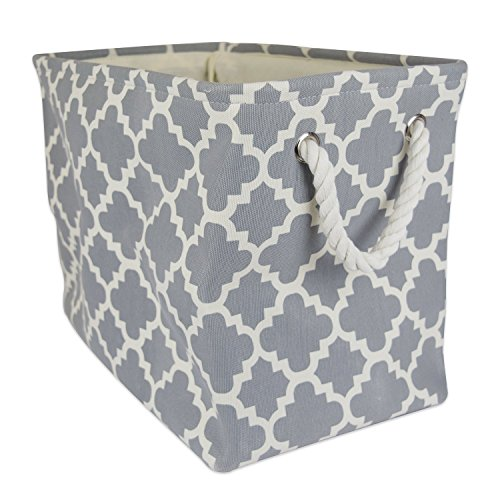 "DII Collapsible Polyester Storage Basket or Bin with Durable Cotton Handles, Home Organizer Solution for Office, Bedroom, Closet, Toys, Laundry (Large – 18x12x15""), Gray Lattice (Foldable Corn Husk Baskets)"