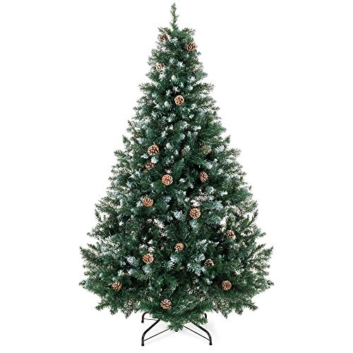(Best Choice Products 7ft Hinged Artificial Christmas Tree for Home Living Room Festive Holiday Decoration w/Snow Flocked Tips, Pine Cones, Metal Stand - Green)