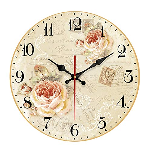 - YeYo Pink Flowers Wall Clock MDF Wooden Fashion Silent Wall Clock Art Decorative for Home Living Room Bedroom Office Decoration (16inch)