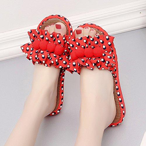 coperto donna di pantofole antiscivolo Rosso home home sweet elegante pantofole al sweet spessore fankou 37 pavimento soggiorno estate Cool qtx80