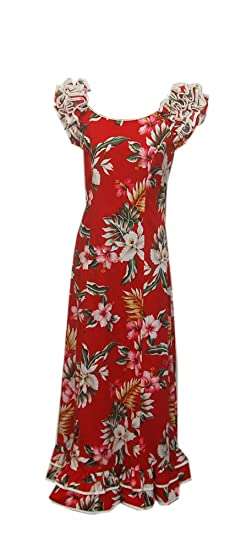 82d0577945e Jade Fashions Inc. Women s Hawaiian Cotton Red Orchid Ruffle Sleeves Long  Dress-Red-