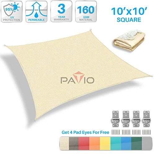 Patio Paradise 10' x 10' Tan Beige Sun Shade Sail Square Canopy - Permeable UV Block Fabric Durable Patio Outdoor - Customized Available