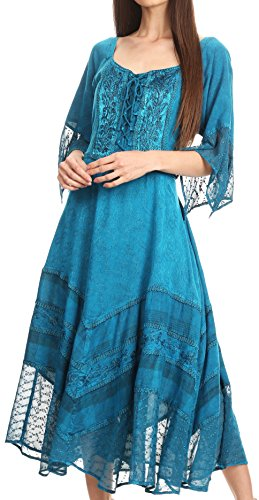 Sakkas 15224 - Bexley Scoop Neck Bell Sleeve Bohemian Gypsy Embroidered Corset Dress - Turquoise - -