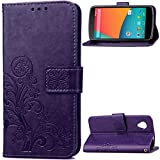 Nexus 5 Case, SATURCASE Lucky Clover PU Leather Flip Magnet Wallet Stand Card Slots Case Cover for Google LG Nexus 5 Purple