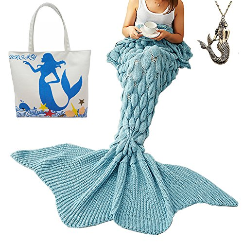 URSKY Crochet Knitted Sofa Living Room Mermaid Tail Blanket, Cozy and Soft All Season Mermaid Tail Pattern Throw Sleeping Bag For Adult, Teens and Child (Scale Fancy Tail (Do At Home Halloween Costume Ideas)