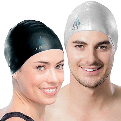 Set of 2 – High Quality Swim Caps for Adult Men and Women – Protects your Hair and Ears while Swimming – Protective Zipper Case Included – Exclusiv Swim Cap (Elite Stretch Hat)