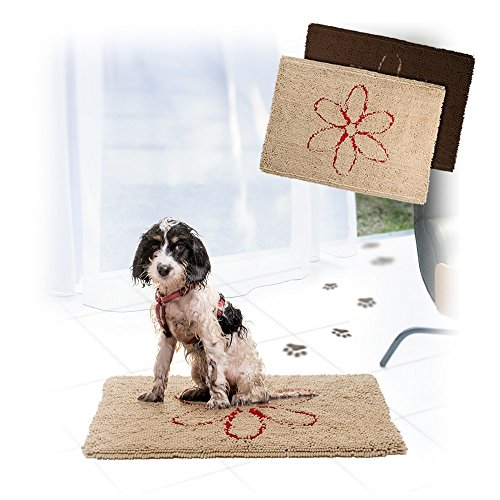 Walky Dog Walky Dog Dirty Dog Rug Microfiber Extra Thick Dog Pet Doormat Anti Slip Backing Super Absorbent (Chocolate, L 35.5' x 26')