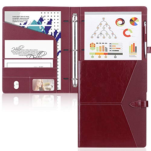 Conference Padfolio - Toplive Padfolio 3 Ring Binder (1'' Round Ring) Business Portfolio Folder for Interview, Conference and Presentation, Wine Red