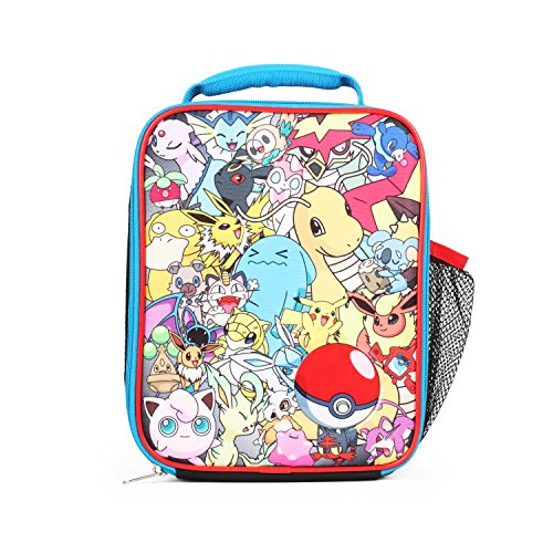 (Pokemon All Over Print Multi Characters Insulated Lunch Bag for Kids with Mesh Pocket)