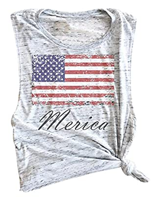 LOTUCY Womens American Flag Print Tank Tops 4th July Patriotic Vest Tops Blouse Tees