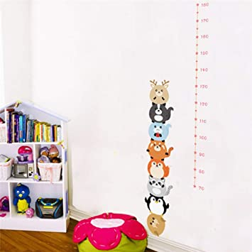 Bdhnmx Lovely Penguin Growth Chart Wall Stickers for Kids Rooms Home Decor Cartoon Animals Height Measure