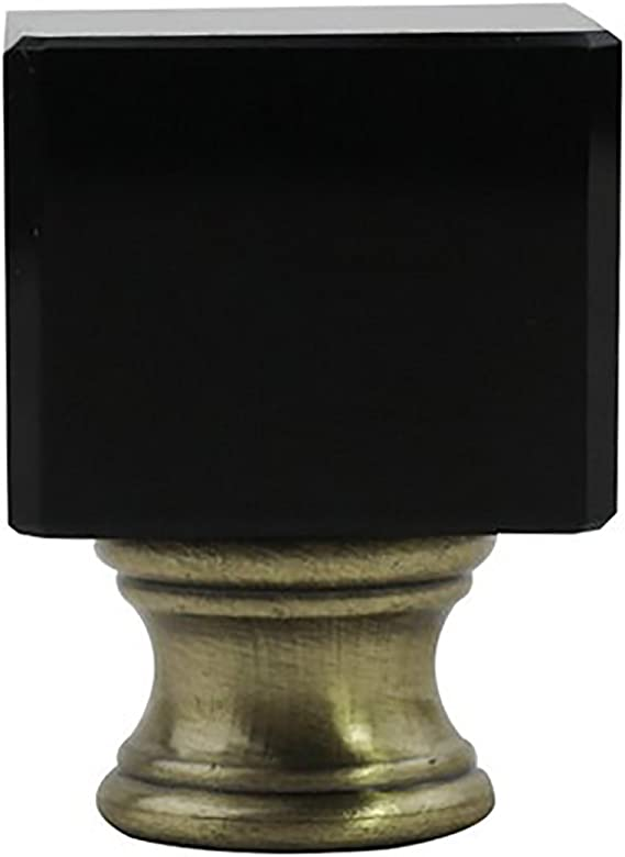 Urbanest Crystal Glace Lamp Finial Black With Antique Brass 1 1 2 Inch Tall Amazon Com
