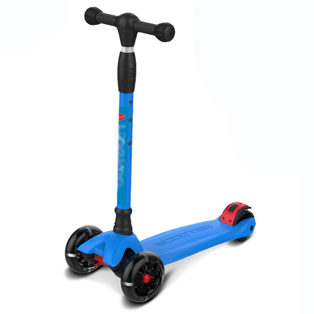 キックスクーター三輪車スケートボードペダル式乗用スタントスクーターLED調節可能な折りたたみTバーハンドルライトアップホイール付き B07H9VQPQM Standard Blue Standard Blue