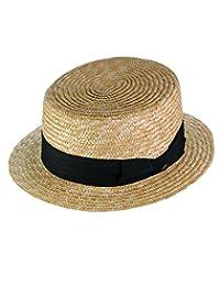 NYFASHION101 Unisex Grosgrain Ribbon Straw Skimmer Boater Hat