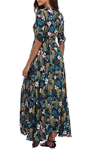 Bouton ananas 2XL floral femme fendue vers robe longue cou manches robe XS Jupe VOGMATE haut Marine v demi Casual maxi le vwBWRUq