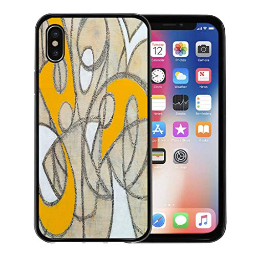 Emvency Phone Case for Apple iPhone Xs Case/iPhone X Case,Yellow Retro Black Modern Abstract Painting White Charcoal Appealing Soft Rubber Border Decorative, Black