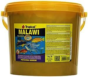 Tropical Malawi - Comida para peces en copos, especial para peces tropicales cíclidos de Malaui, del grupo de los Mbuna, vegetales con un alto nivel de proteínas, para alimentación diaria, 1200 ml / 220 g