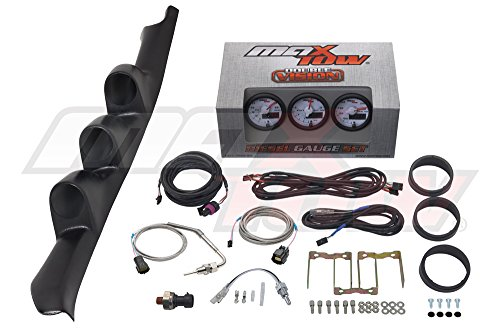 White/Green MaxTow 1995-1998 Chevrolet C/K Pickup 2500 3500 Diesel Gauge Package Double Vision 60 Boost, 1500 EGT, Trans Temp