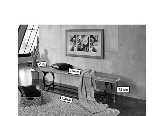 STILE INDUSTRIALE LEGNO ANTICO LACCATO Panca 180x40 IN LEGNO MASSELLO FERRO MOBILI IN LEGNO MASSELLO INDUSTRIALE #31