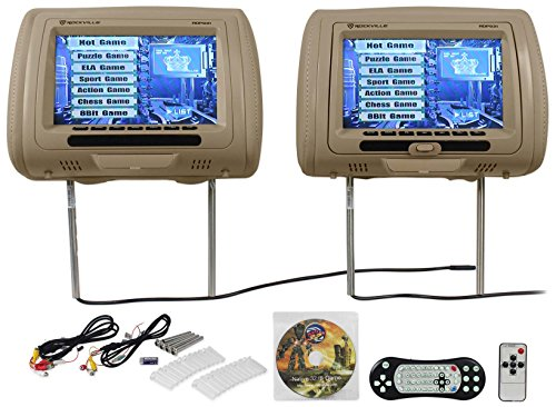 New Rockville RDP931-BG 9 Beige Car DVD/USB/HDMI Headrest Monitors+Video Games