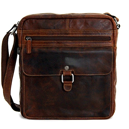 Jack Georges Voyager Large Cross Body (Brown) (Leather Jack Bag Georges)