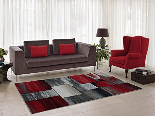 (Copper Currant Red Grey Living Room Area Rug Contemporary Modern Geometric Design Hallway Dining Area Rug Runner (1'10