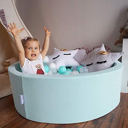 Dark Grey:Grey//White//Turquoise 2.75In Baby Foam Ball Pit Certified Made In EU KiddyMoon 90X40cm//NO Balls /∅ 7Cm