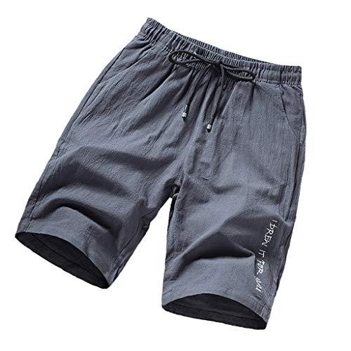 (Homeparty Mens Beach Sports Shorts Pants Summer Casual Printing Loose Belt Drawstring Gray )