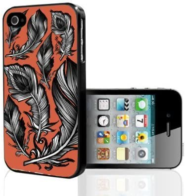 black and white feathers on peach background hard snap on phone case iphone 6 4 7 amazon ca cell phones accessories amazon ca