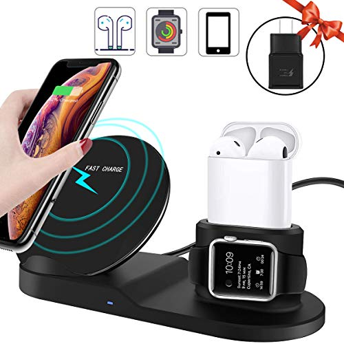3 in 1 Wireless Charger,10W Qi Fast Wireless Charger Stand for iPhone Xs Max/XR/Samsung S10 S9+,Wireless Charging Dock Holder Station for Apple iWatch Series 1/2/3/4,AirPod(Included QC Adapter)-Black