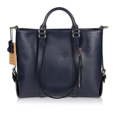Kattee Urban Style 3-Way Women's Genuine Leather Shoulder Tote Bag, Dark Blue