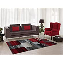 """Copper Currant Red Grey Living Room Area Rug Contemporary Modern Geometric Design Hallway Dining Area Rug Runner (5'2"""" x 7'5"""")"""