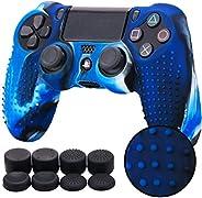 MandaLibre Funda Texturizada + 8 Grips de Silicona para Controles DualShock 4 de Playstation 4 (Azul Camuflaje
