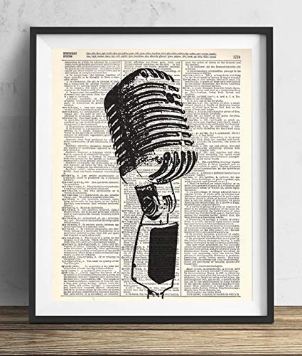 Vintage Microphone Illustration Upcycled Dictionary Art Print 8x10 ()