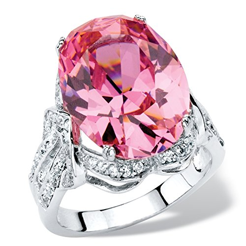 Palm Beach Jewelry Oval-Cut Simulated Pink Tourmaline Cubic Zirconia Platinum-Plated Faceted Cocktail Ring Size 10