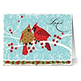 24 Holiday Cards - Winter Love - Blank Cards - Red Envelopes Included