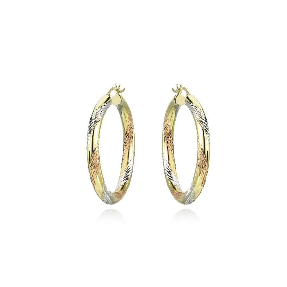 14K Gold Tri Color Polished & Diamond-Cut 4x32mm Lightweight Medium Round Hoop Earrings by Hoops & Loops (Image #2)