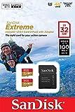 SanDisk Extreme 32 Gb per Action Camera, MicroSDHC con Adattatore SD Twinpack, Classe 10, U3, V30, A1, Velocità di lettura fino a 100 Mb/s