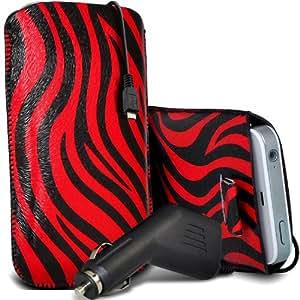 Nokia Lumia 720 Protección Premium de Zebra PU ficha de extracción Slip In Pouch Pocket Cordón piel cubierta Con Quick 12v Micro USB Car Charger Rojo y Negro por Spyrox